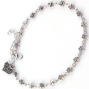 Silver Daisy Ankle Bracelet w/ Heart Charm Anklet